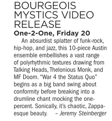 Bourgeoisie Mystics, One-2-One, Friday July 20