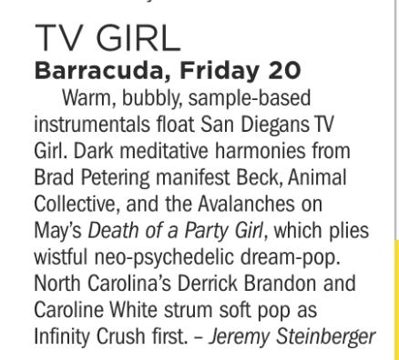 TV Girl, Barracuda, Friday July 20