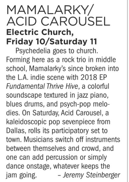 Mamalarky, Acid Carousel, Electric Church, August 10/11