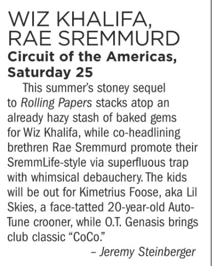 Wiz Khalifa, Rae Sreummurd, Lil Skies, Circuit of the Americas, Saturday August 25
