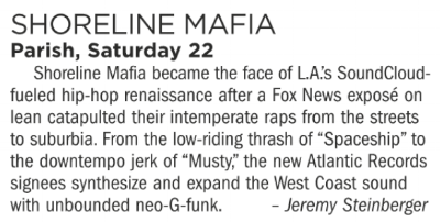 Shoreline Mafia, Parish, Saturday September 22