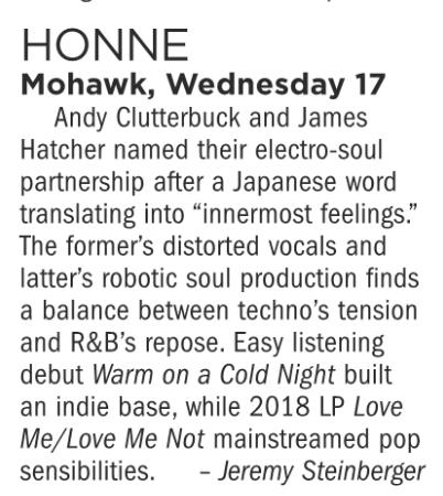 Honne, Mohawk, Wednesday October 17