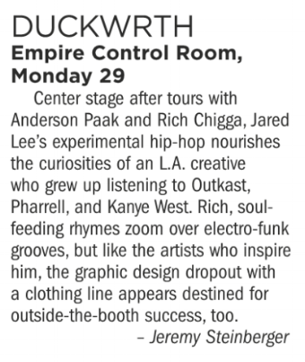 Duckwrth, Empire Control Room, Monday October 29