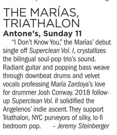 The Marias, Triathlon, Antone's, Sunday November 11