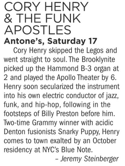 Cory Henry & The Funk Apostles, Antone's, Saturday November 17