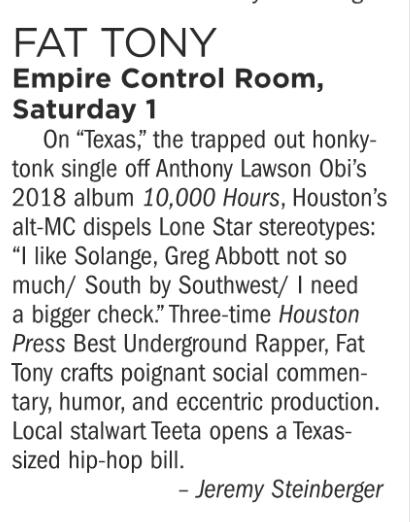 Fat Tony, Empire Control Room, Saturday December 1