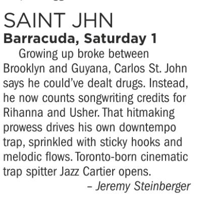 Saint JHN, Barracuda, Saturday December 1