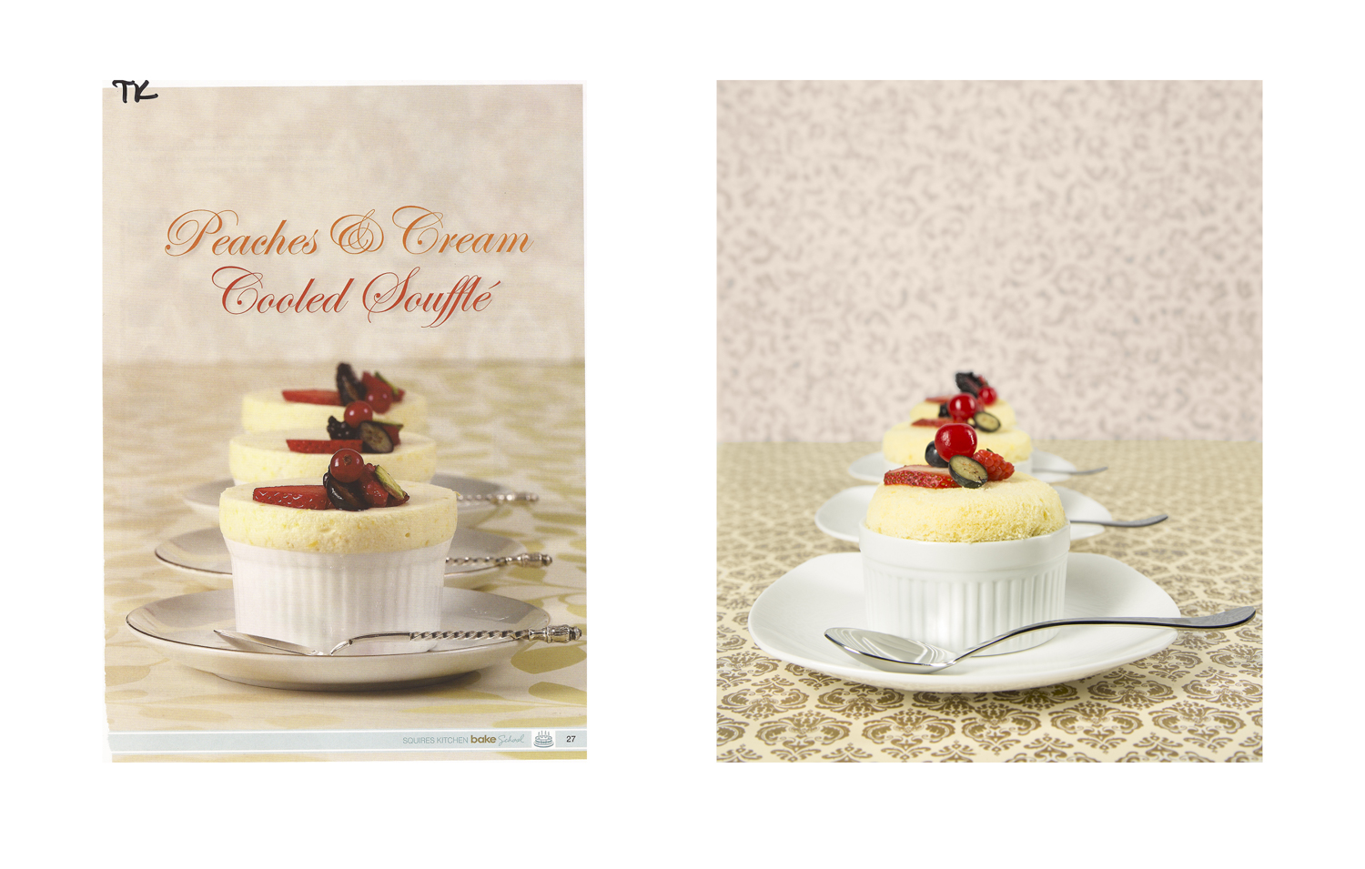 Advertisement (Left): Squires Kitchen Bake School | My Photograph (Right)