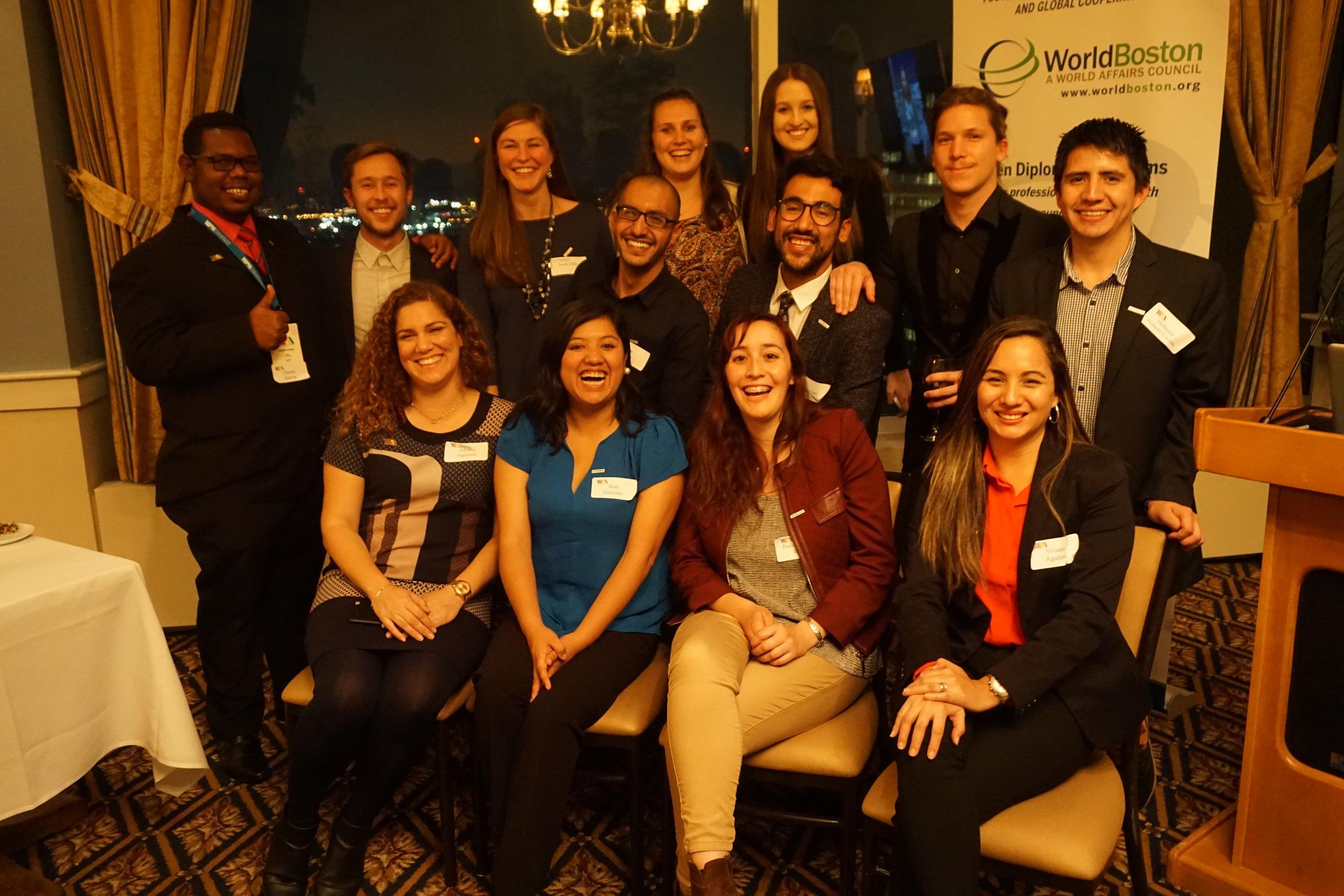 WorldBoston's 2017 YLAI Professional Fellows with organizers Sarah, Jenna, and Maddie