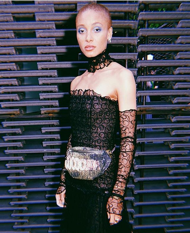 @adwoaaboah in a sequined Chanel fannypack from #chanel #cruise 2017 collection! You can #stealherstyle with this Chanel flap bag from the same collection, available in store and online!