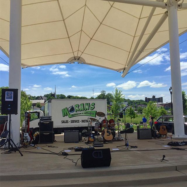 Beautiful day for outdoor #music in the park. #outsidereality #rockband #ctbands #band #rocknroll #togetherinstyle #musician #bandshell