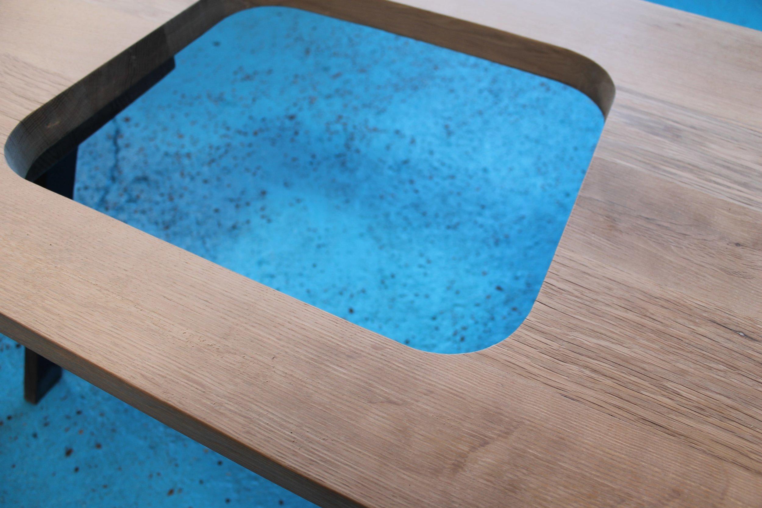 white oak wood countertop sink cutout
