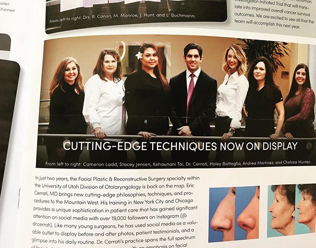 What a nice article! My team is the best and makes it all possible! 🙏🙏 . ☎️ 801.585.3223 🖥 www.drericcerrati.com 📍Salt Lake City, UT . . #plasticsurgeon #plasticsurgery #facialplasticsurgery #rhinoplasty #rhinoplastyspecialist #rhinoplastydiary #nosejob #facelift #faceliftspecialist #necklift #eyelift #eyebags #blepharoplasty  #browlift #beautiful #rapidrecovery #nonsurgicalfacelift #botox #filler #selfconfidence #transformation #natural #photooftheday #beforeandafter #saltlakecity #parkcity #utah