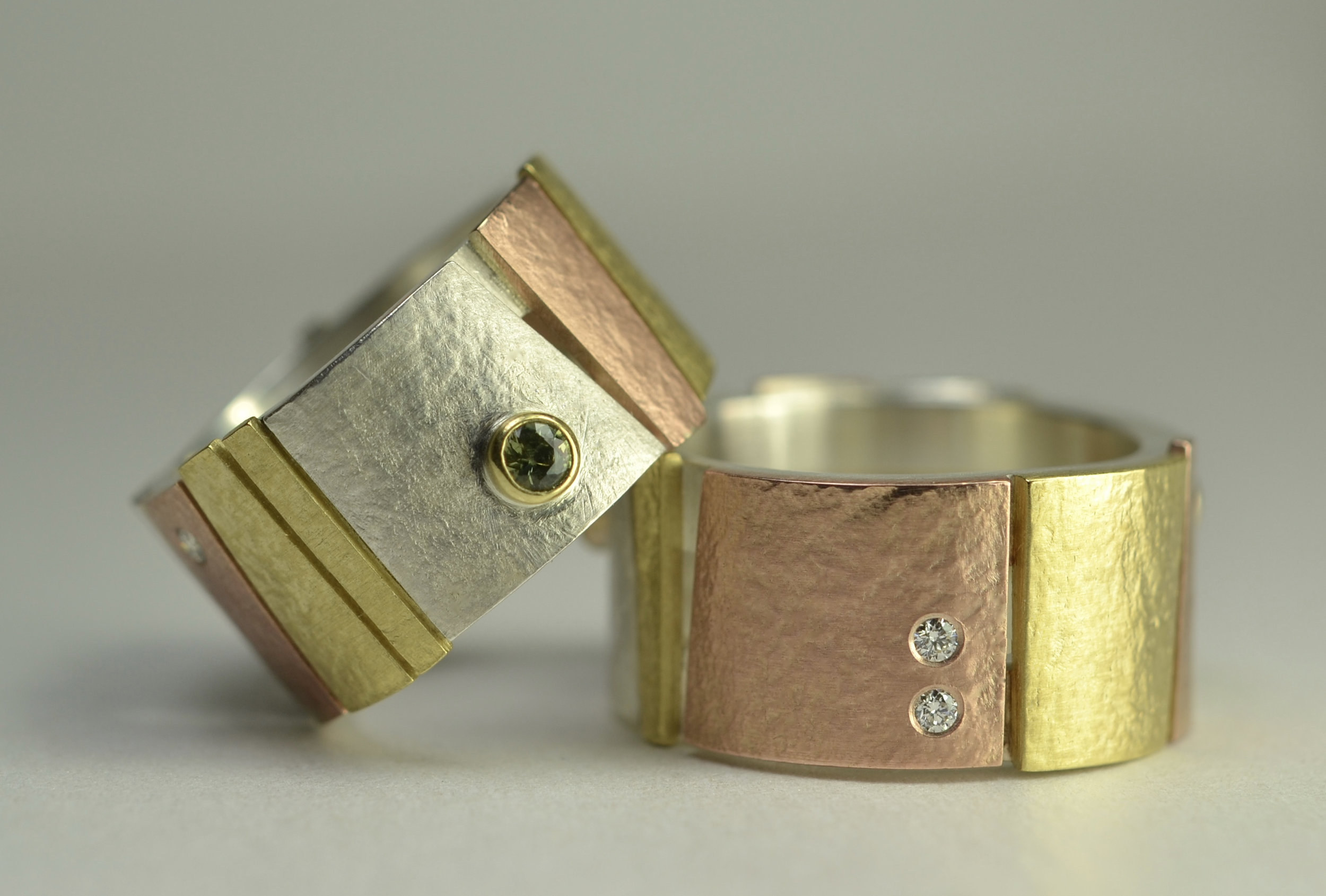 multi colored gold bands,diamond, tourmaline