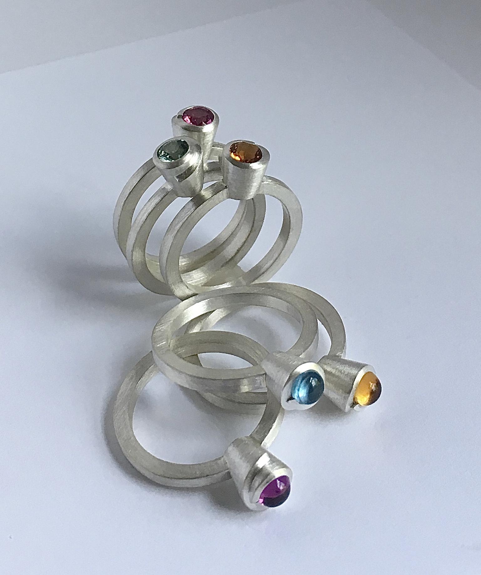 stack bands, silver, colored gemstones