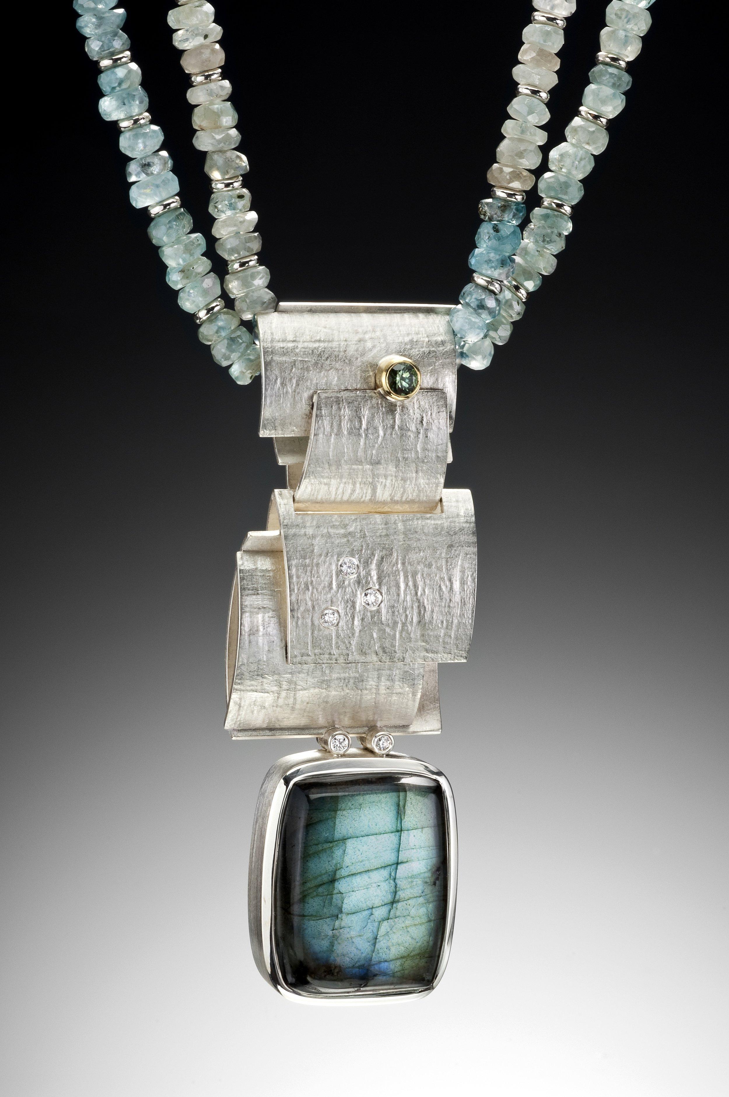 silver, labradorite, tourmaline, diamond,