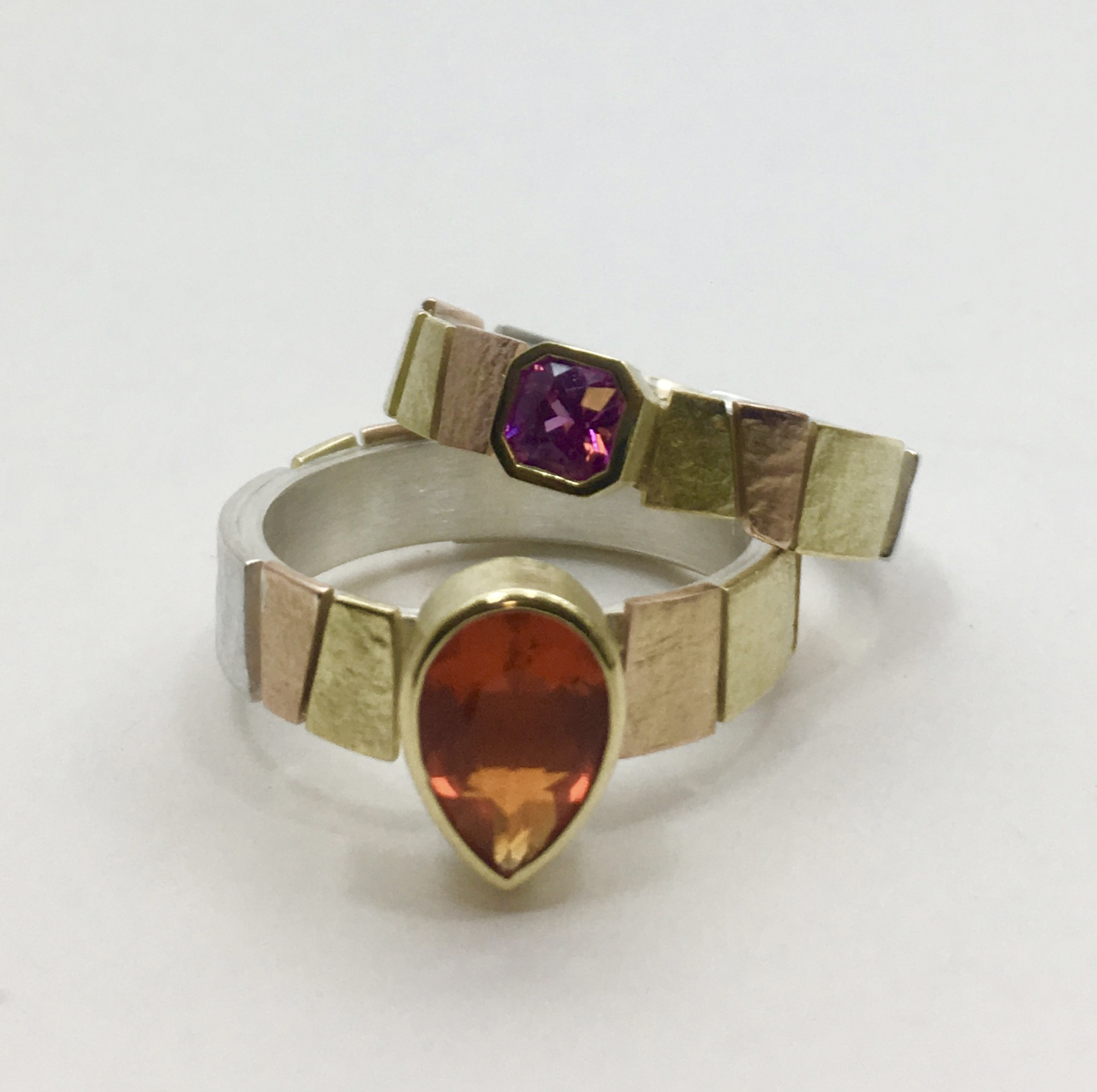 multi colored gold, silver, pink sapphire, fire opal