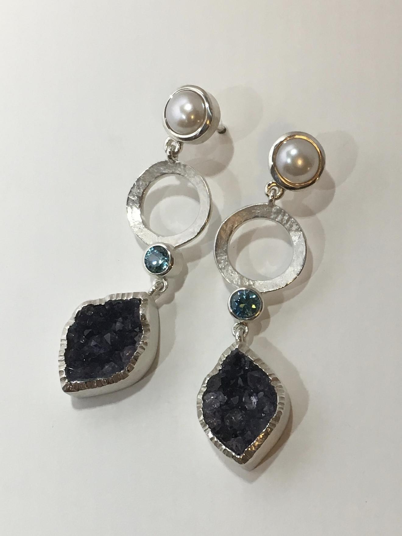 silver, druzy, pearl, blue zircon