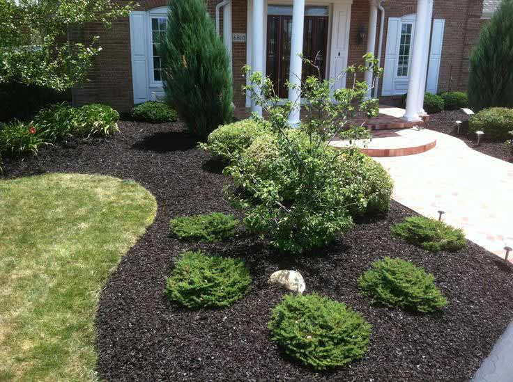 Freshly laid mulch in plant bed, part of complete lawn maintenance.
