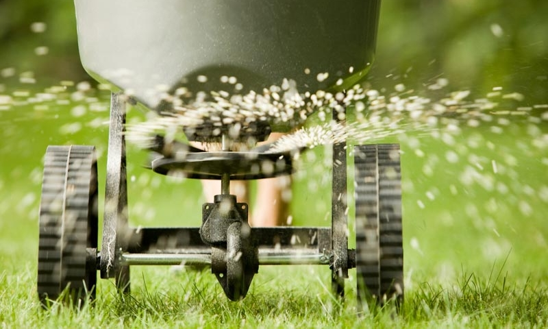 Hand pushed fertilization cart spewing seeds onto lawn, part of complete lawn maintenance by Ivanoff.