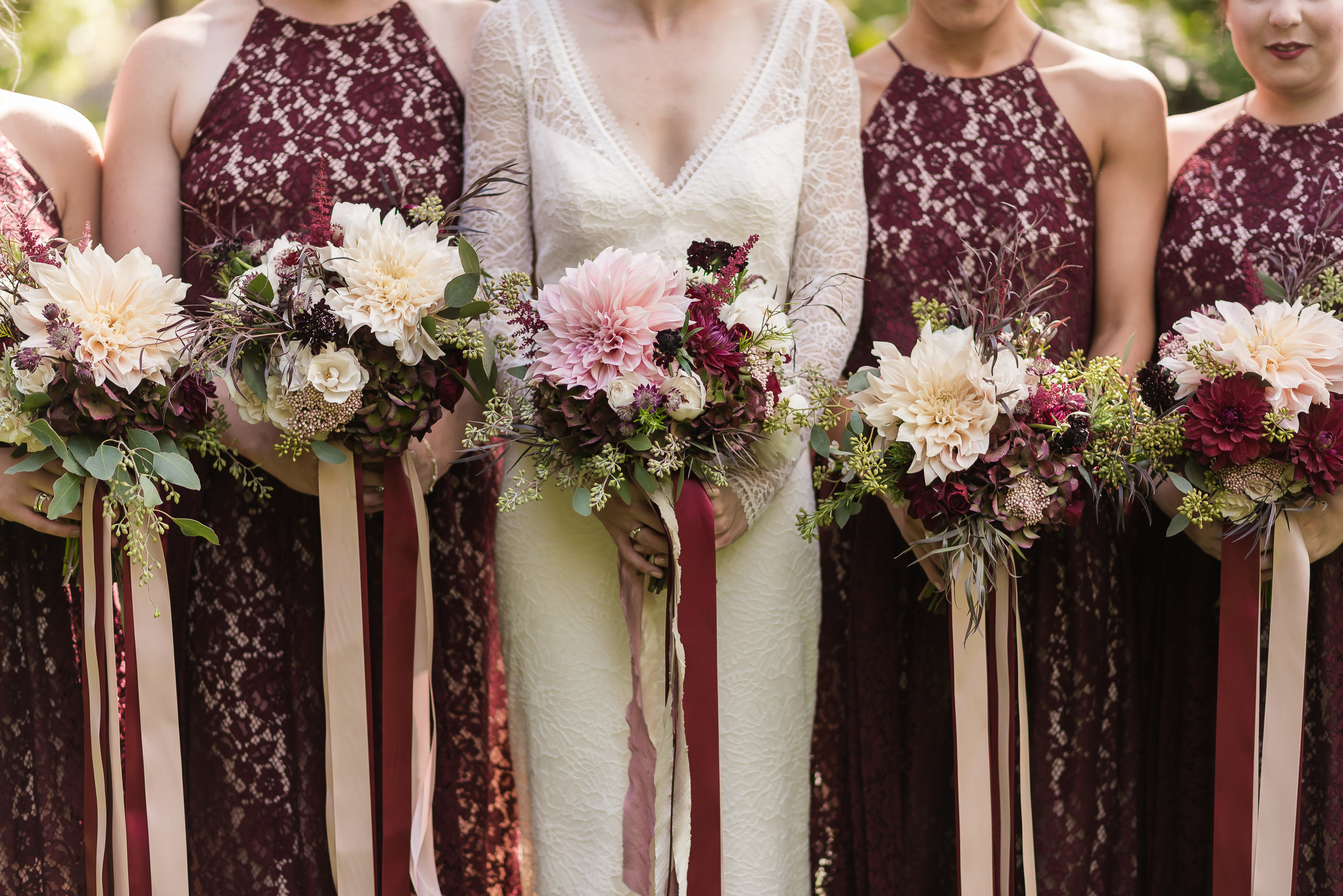 Burgundy and Blush Bouquets at Masonic Temple Detroit