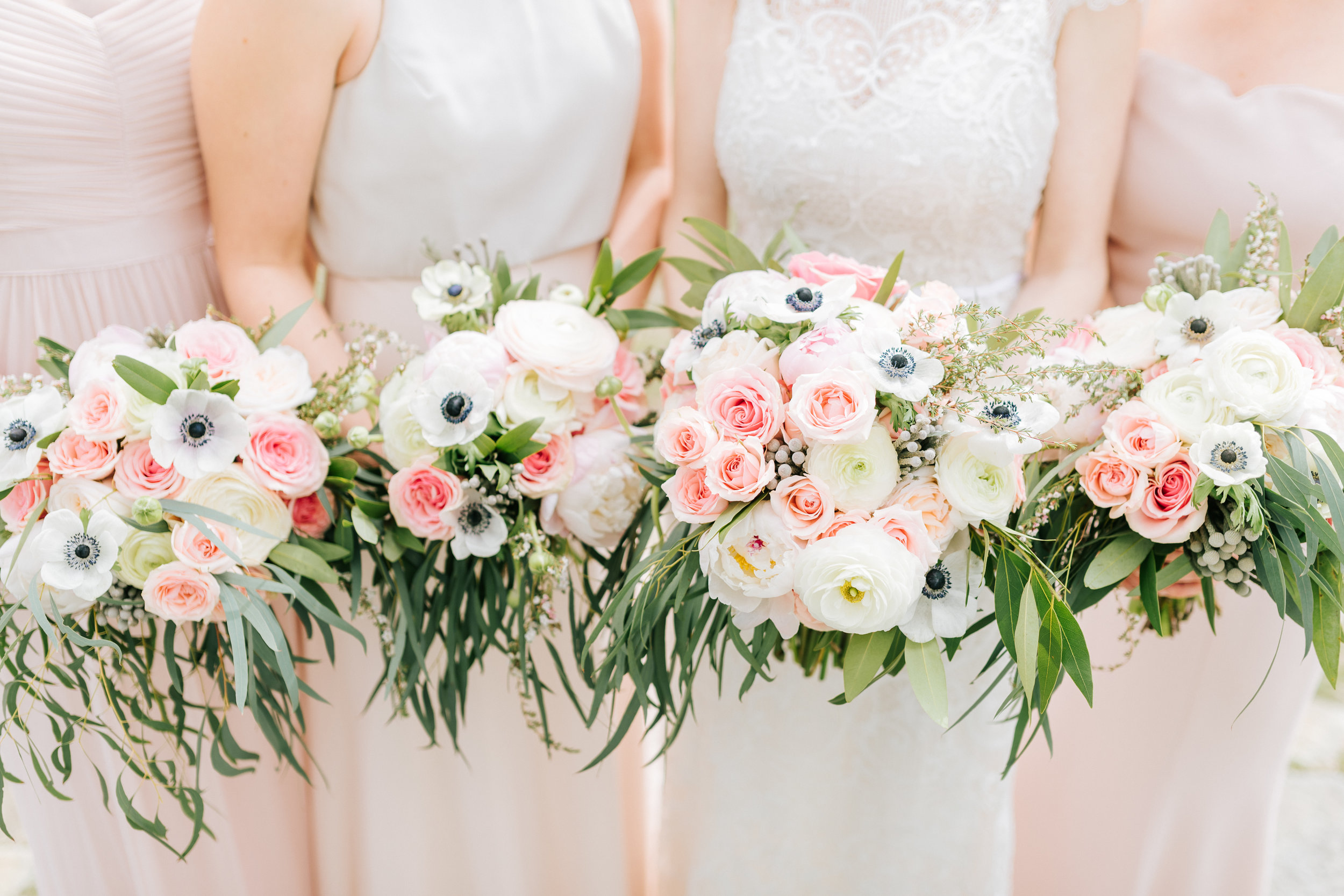Spring Bouquets in Blush and Ivory with Ranunculus