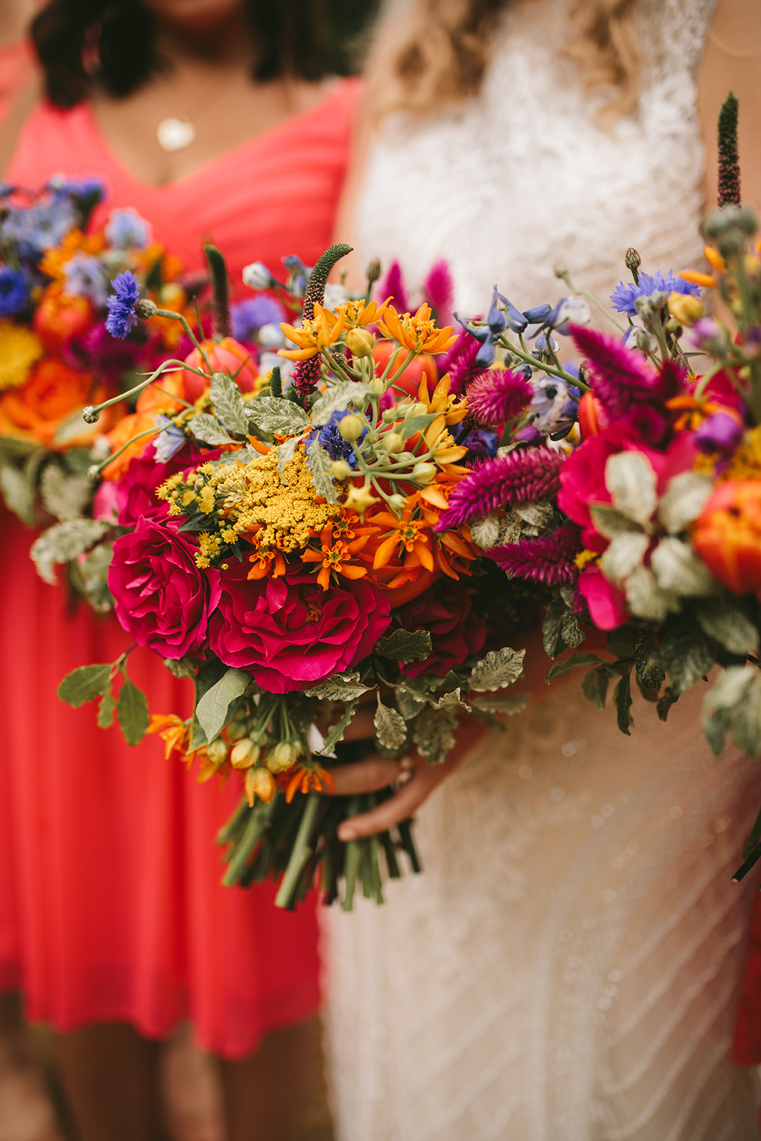 Colorful bouquets Luna Grand Rapids Wedding