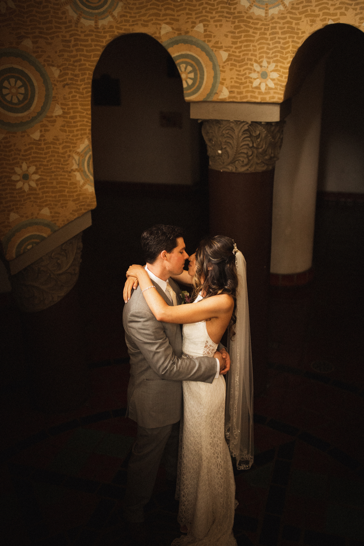 Elopement Spanish Style Santa Barbara Courthouse California Romantic dramatic moody dark wedding marriage photographer photography European Europe  - 17.jpg