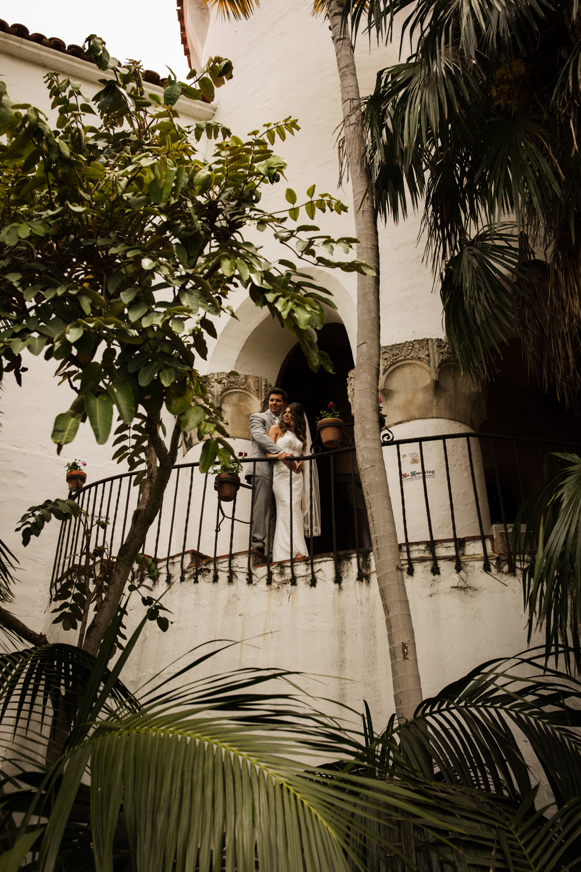 Elopement Spanish Style Santa Barbara Courthouse California Romantic dramatic moody dark wedding marriage photographer photography European Europe  - 52.jpg