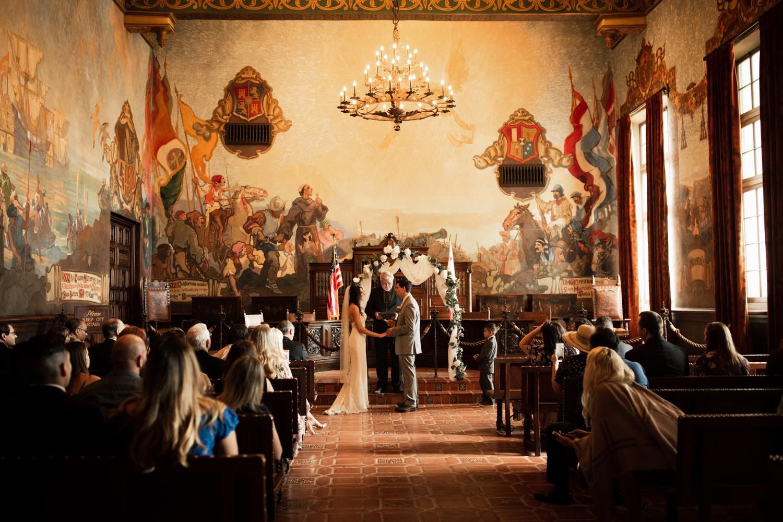 Elopement Spanish Style Santa Barbara Courthouse California Romantic dramatic moody dark wedding marriage photographer photography European Europe  - 75.jpg