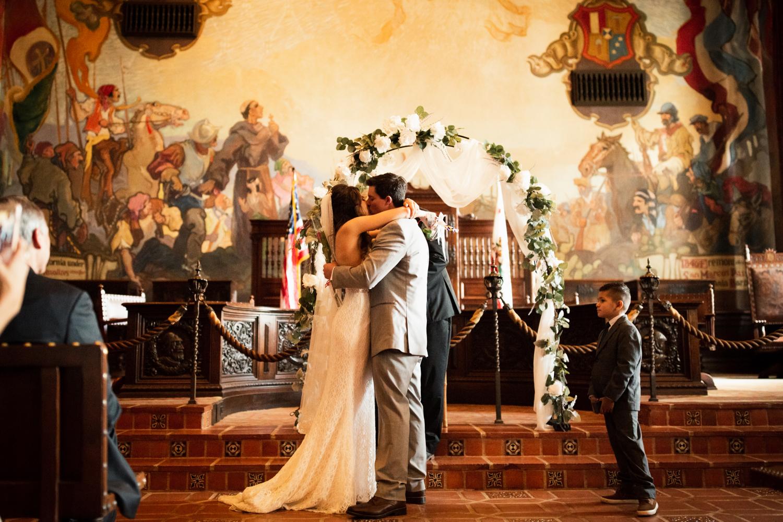 Elopement Spanish Style Santa Barbara Courthouse California Romantic dramatic moody dark wedding marriage photographer photography European Europe  - 83.jpg