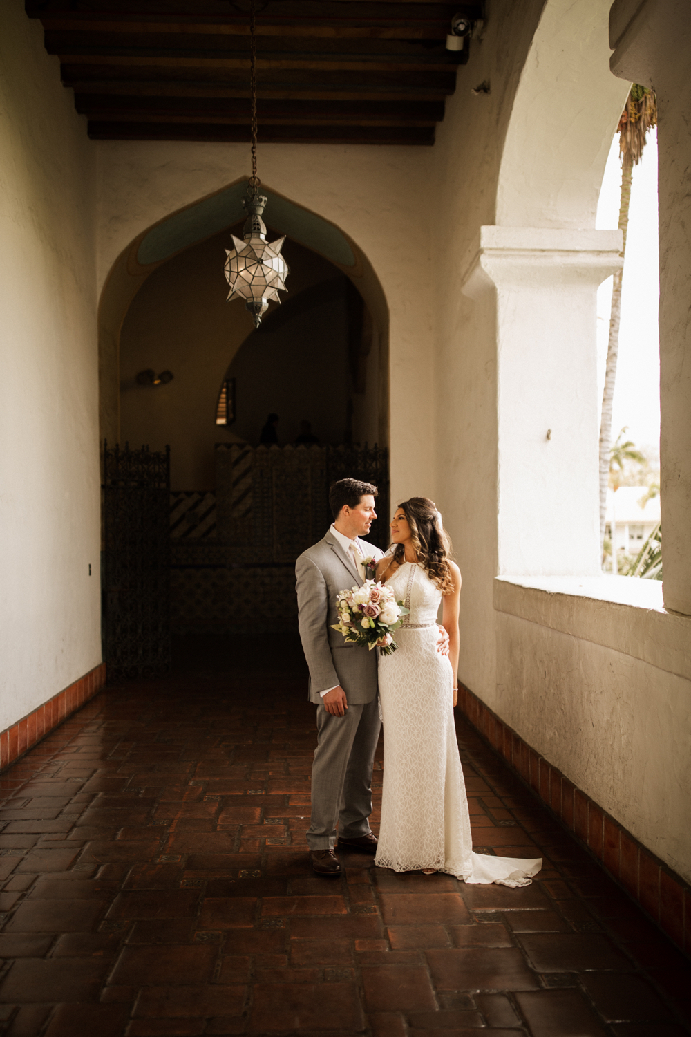 Elopement Spanish Style Santa Barbara Courthouse California Romantic dramatic moody dark wedding marriage photographer photography European Europe  - 63.jpg