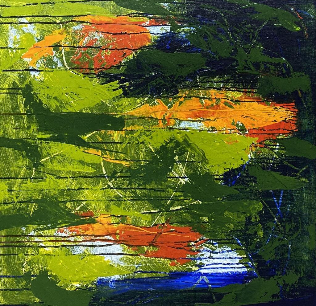 Blue Breaks Thro, acrylic on canvas, 30 x 30 inches