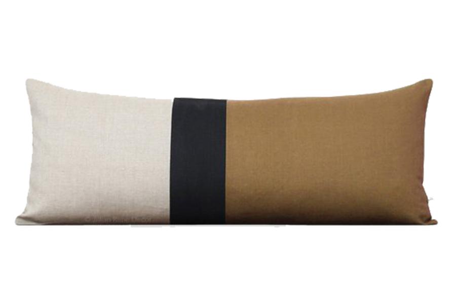 Caramel Colorblock Pillow Cover, 14x35