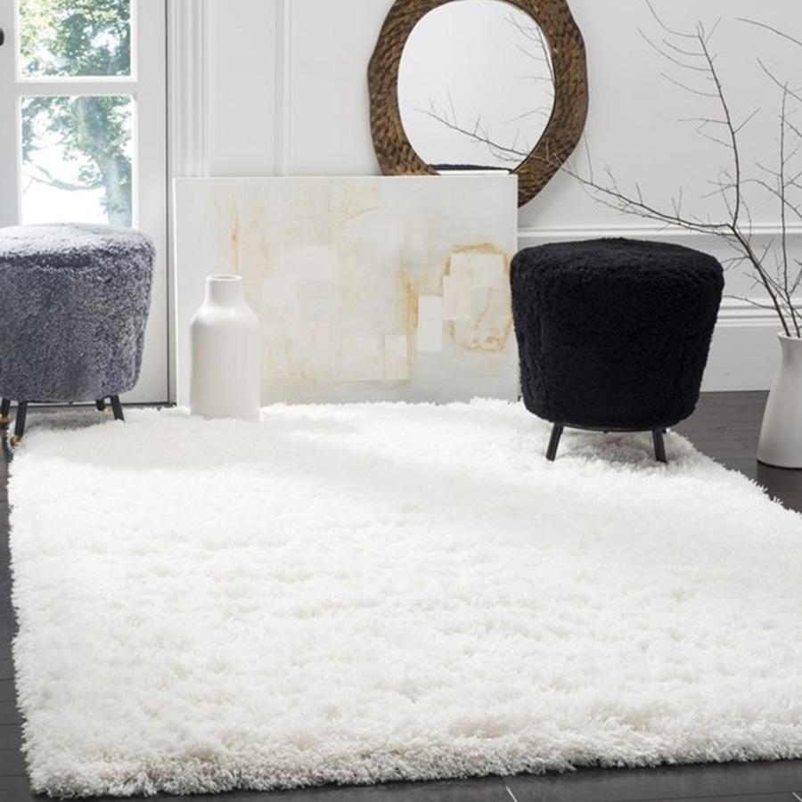 "Safavieh Polar Shag White Fluffy Silken Rug - 6'-7"" X 9'-2"""