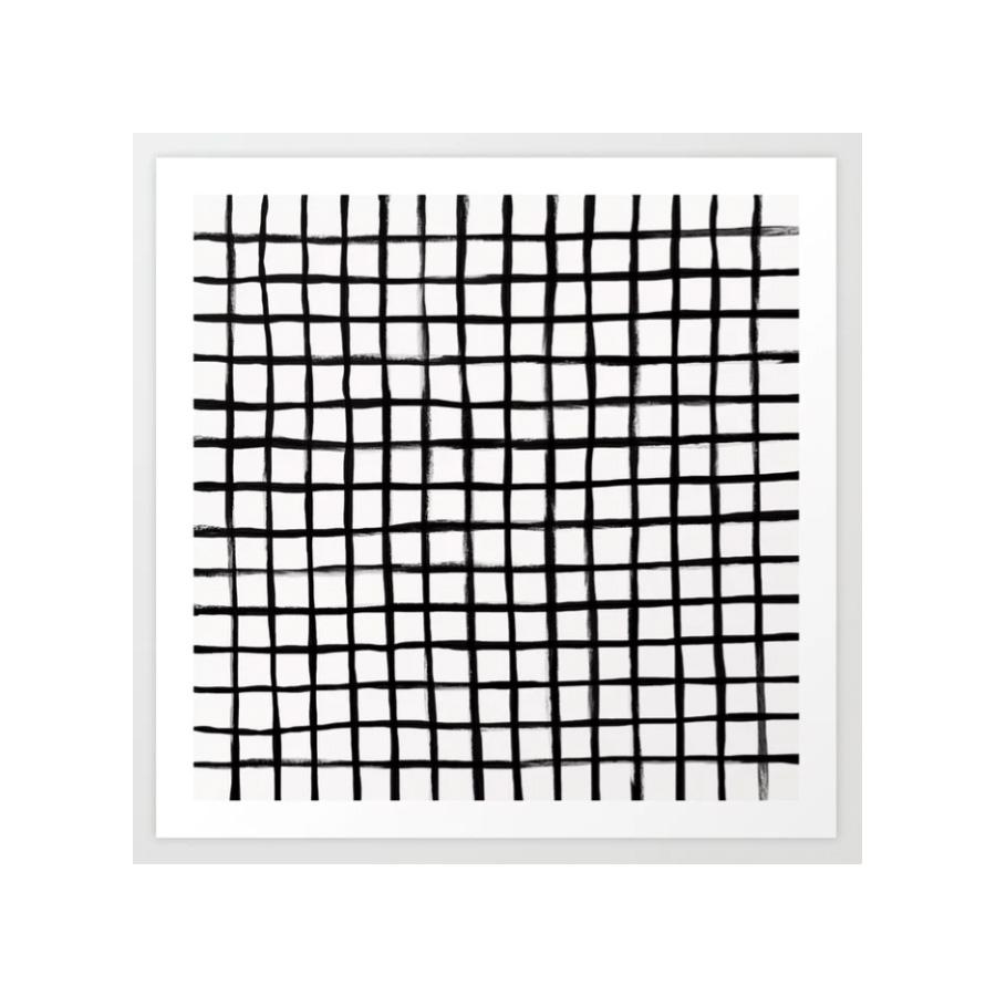 Strokes Grid - Black on Off White Art Print