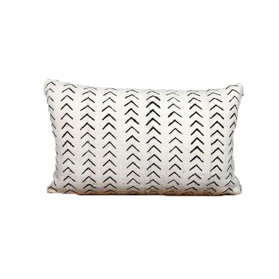 Authentic Mud Cloth Pillow - Black and White 'Minnie'