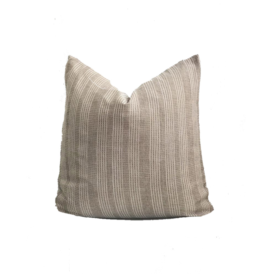 Brown Cream Striped Woven Sashiko Pillow Cover  (26x26 Recommended)