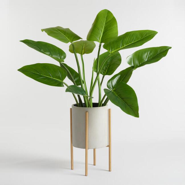 Large Gray Planter With Brass Stand.jpg