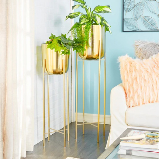 Large Modern Metallic Gold Metal Planters with Stands Set of 2.jpg