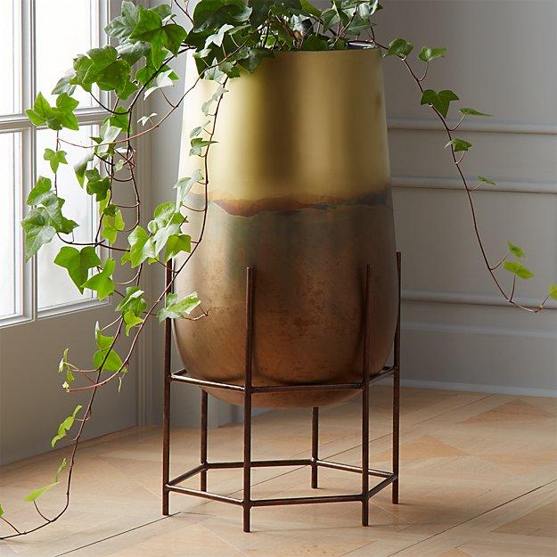 strata patinaed brass planter on stand.jpeg