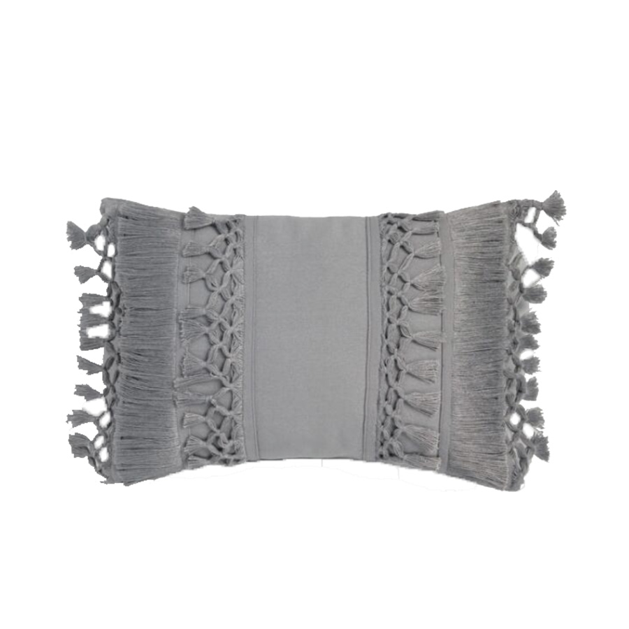 Gray Fringe Outdoor Lumbar Pillow