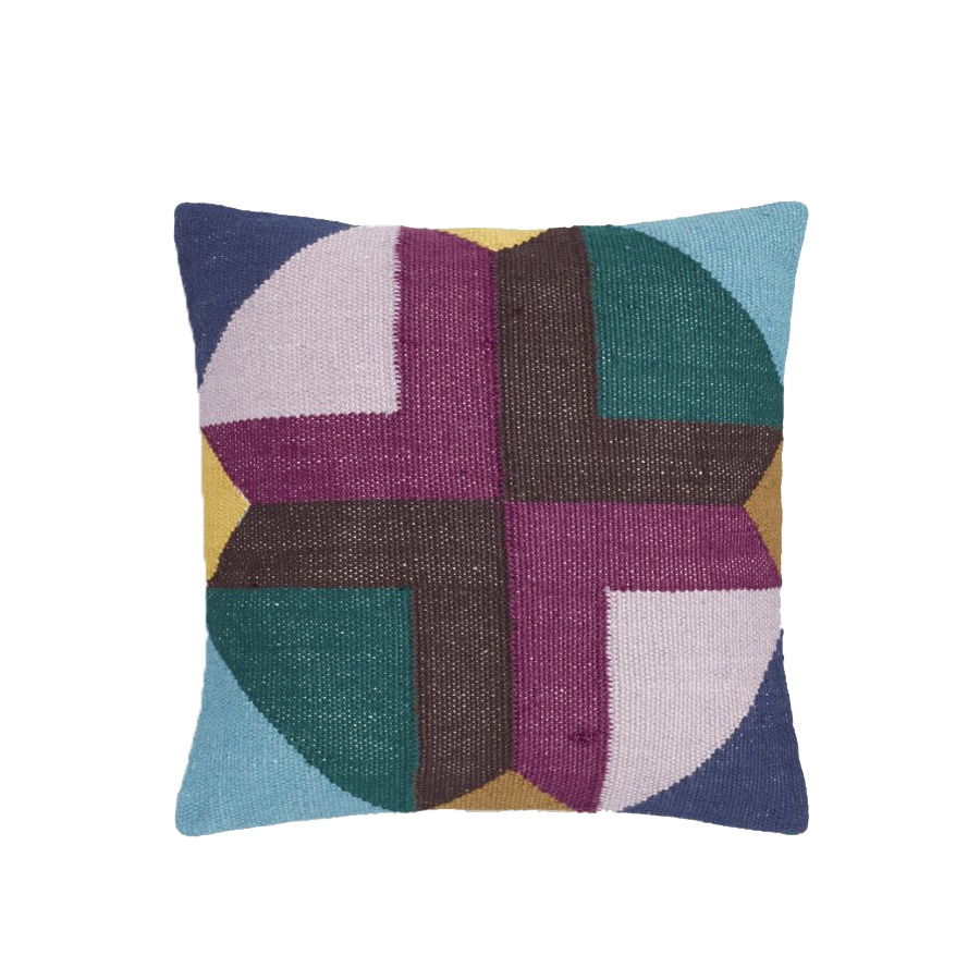 Multicolored Geometric Maya Outdoor Throw Pillow