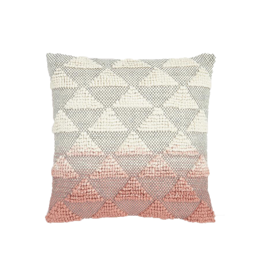 Coral Woven Triangle Outdoor Throw Pillow