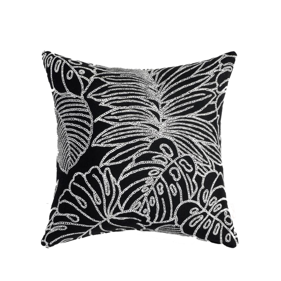 Sunbrella Palm Leaf Outline Outdoor Throw Pillow