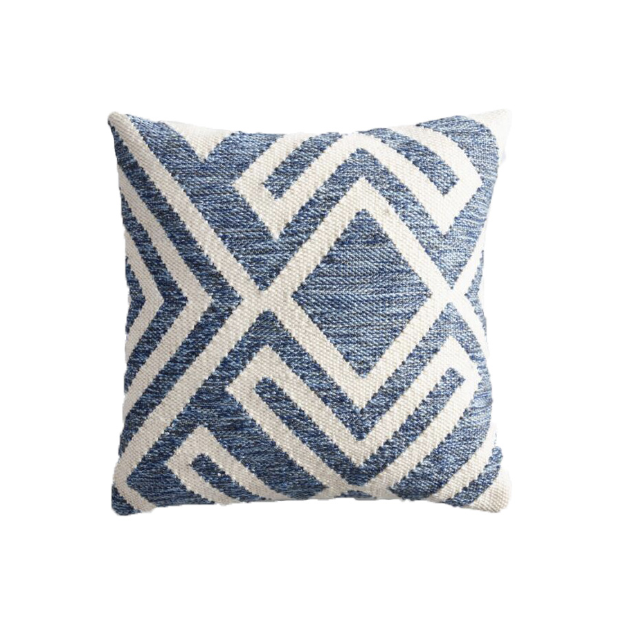 Blue And Ivory Geometric Outdoor Throw Pillow