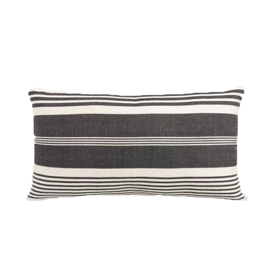 Oversized Black & White Striped Outdoor Lumbar