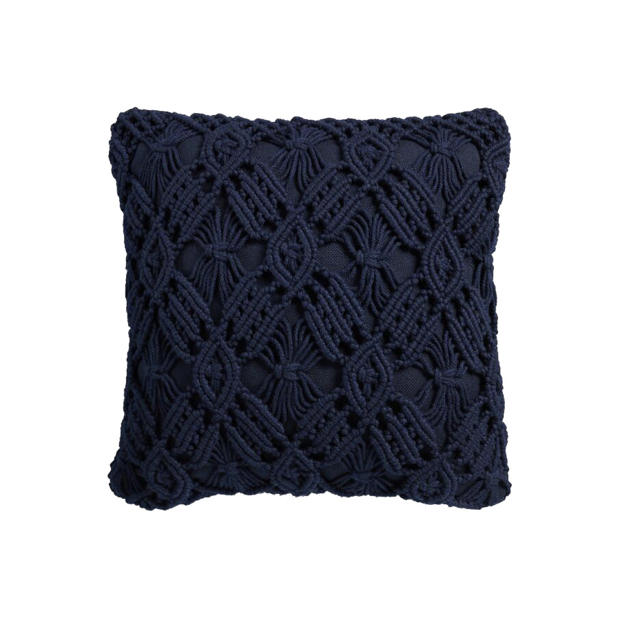 Navy Blue Macrame Outdoor Throw Pillow