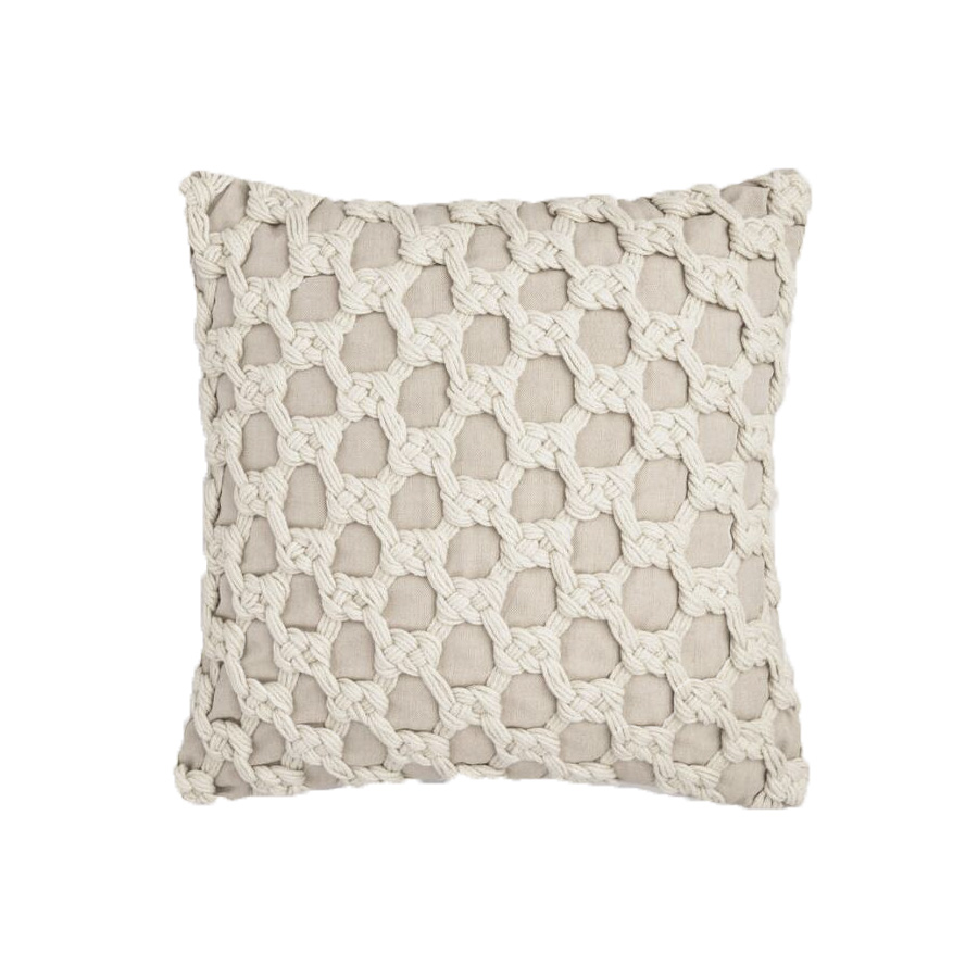 Ivory Knotted Macrame Outdoor Throw Pillow