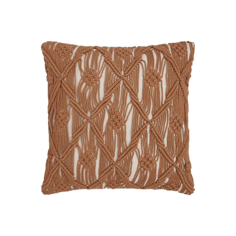 Saffron Macrame Outdoor Throw Pillow